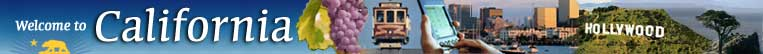 pictures of grapes, San Francisco cable car, electronic organizer, city skyline, the Hollywood sign and cypress tree